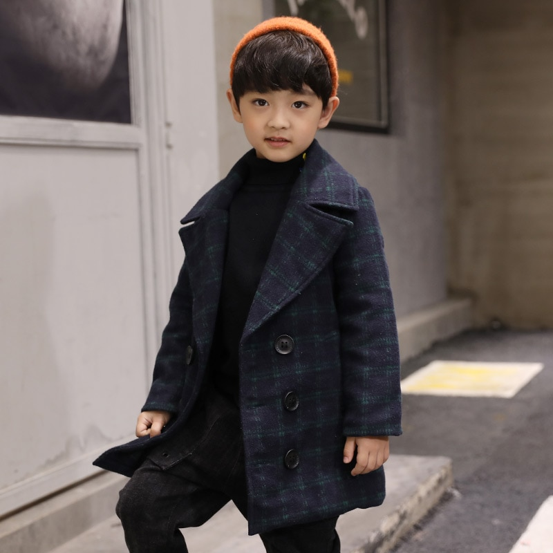 Шерстяное пальто для мальчиков, 2020 шерстяное пальто, детская одежда, осенне-зимняя клетчатая утепленная повседневная шерстяная Верхняя одежда для детей, тренчи, куртки X470-2