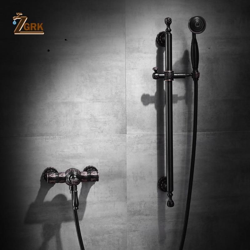 ZGRK دش الحنفيات النحاس الأسود الحمام بسيط رفع والهبوط يده جدار جبل حوض الاستحمام دش خلاط صنبور مجموعة HS019-B