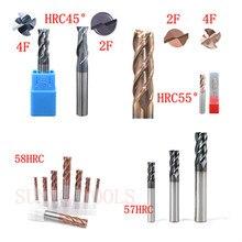 5 pièces 4F 2 flûtes HRC45 HRC55 HRC60 HRC65 D6x50MM Fraise En Carbure De Tungstène R3 boule fin Fraise En Aluminium fraise