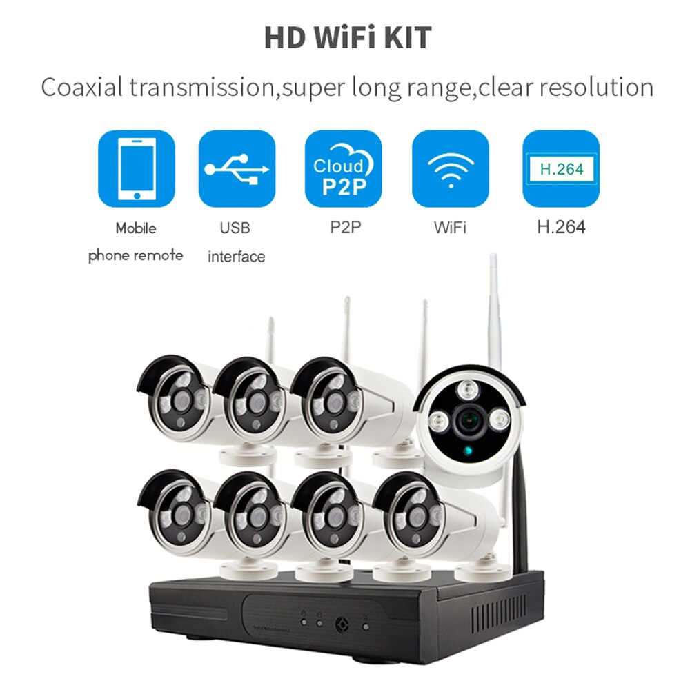 PUAroom 8CH Full HD Беспроводная IP66 Водонепроницаемая наружная сетевая камера с H.264 NVR WIFI камеры безопасности