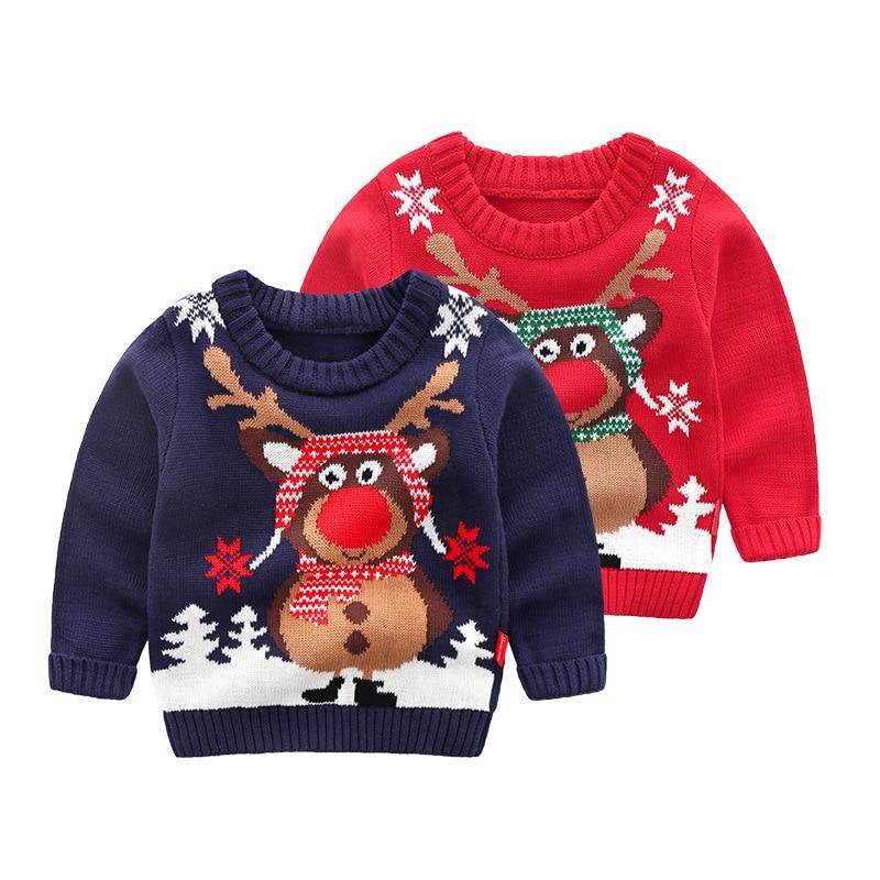 Navidad de punto ropa de bebé niños suéteres de dibujos animados de alce suéter de punto para niños bebé niño Pullover suéter de punto