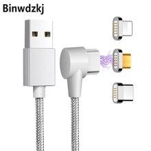 90 градусов правый угол USB Type C/IOS/Micro USB 3 в 1 Магнитный зарядный кабель быстрое зарядное устройство нейлоновый Плетеный Магнитный зарядный каб...
