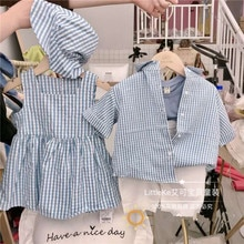 어린이 줄무늬 형제와 자매 착용 남성 아기 줄무늬 셔츠와 바지 두 조각 소녀 인형 드레스 모자 정장