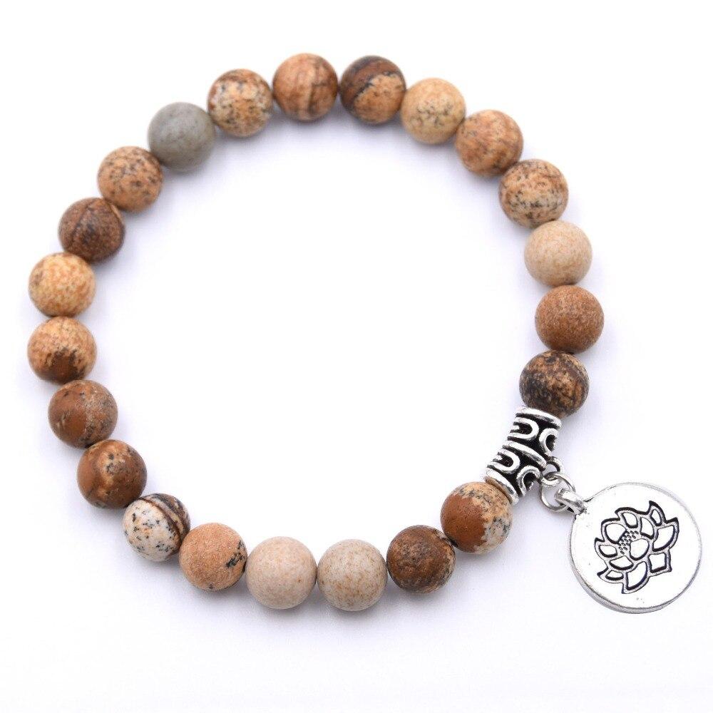 8MM Natural Stone Lotus OM Yoga Bracelet Amazonite T-urquoise Howlite Picture J-asper Japa Mala Jewelry Gift