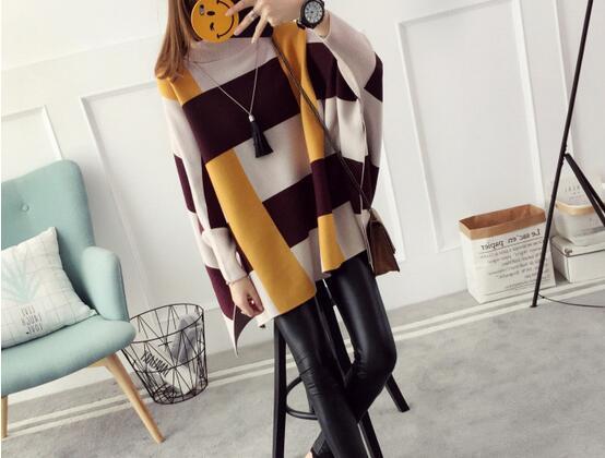 2018  womens sweater set spell color long cloak bat sleeve autumn knitted shawl batwing coat jacket coat enlarge