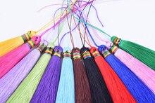 KONMAY 5pcs 5.6''(14.0cm) Soft Long Silky Handmade Tassel with Rainbow Raffle for DIY Project