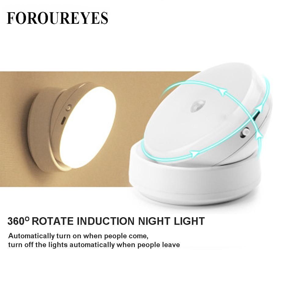LED Night Light 360 Degree Rotating PIR Motion Sensor Lamp 6 LEDs lighting for Wardrobe Cupboard Closet Kitchen night light