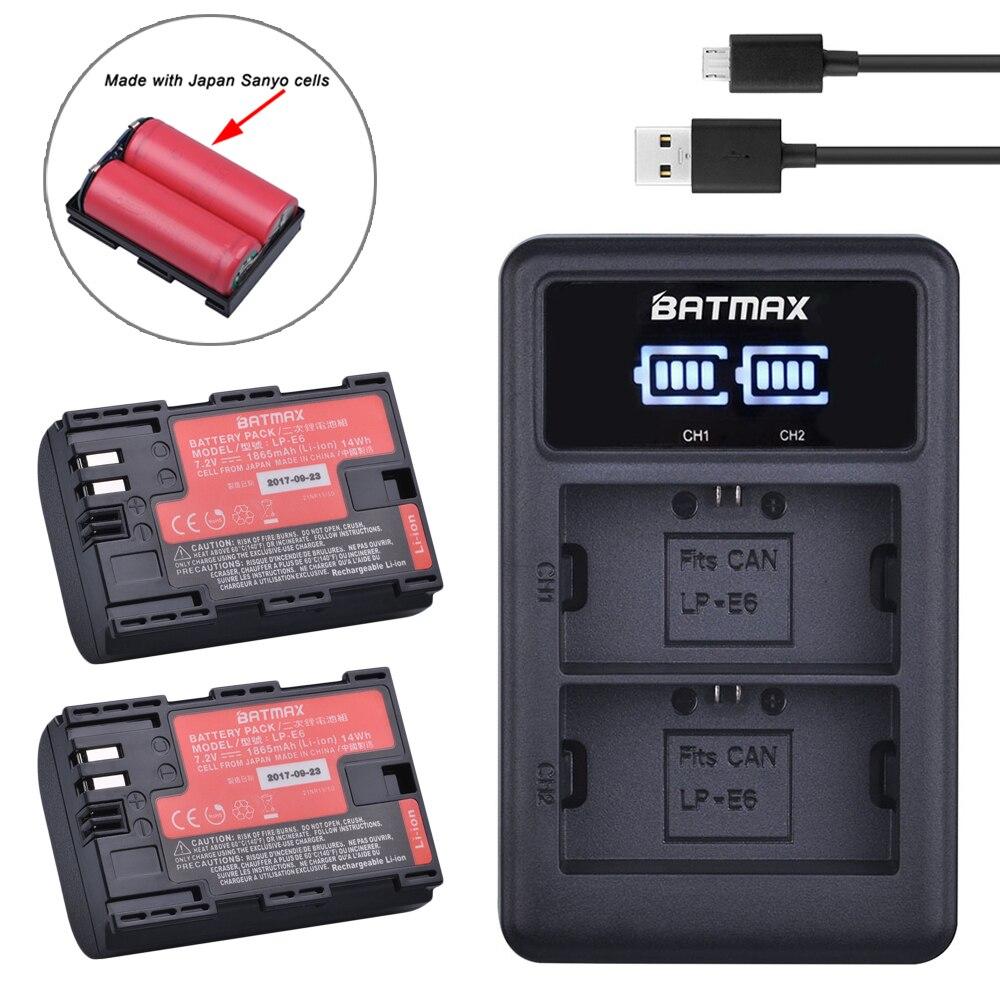 2pc LP-E6 LP E6 LP-E6N Batterie Japan Sanyo Zellen + LED Dual USB Ladegerät für Canon EOS 6D 7D 5DS 5DSR 5D Mark II 5D 60D 60Da 70D 80D