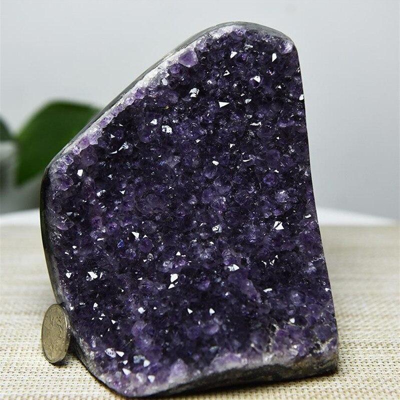 500g 1 peças amethyst geode de uruguary top quality dark amethyst roxo grande cristal amethyst geode cluster
