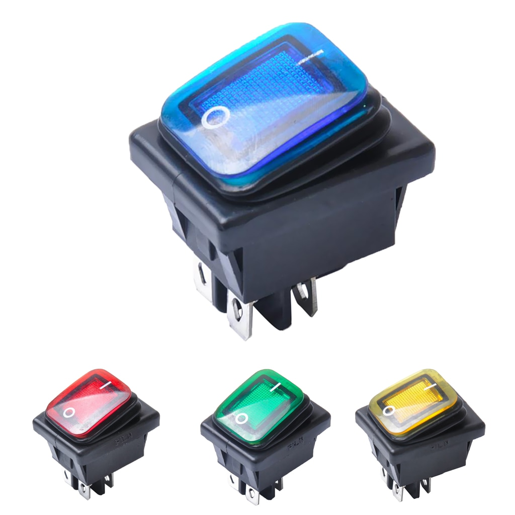 4 Pin On/Off Boat Caravan Rocker Switch ON-OFF 2 Position Electrical equipment With Light Power Swit