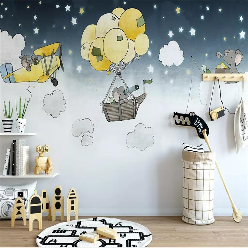 Mural creativo pintado a mano de fondo de sala de estar para niños, mural de producción profesional, papel tapiz al por mayor, póster de pared de fotos