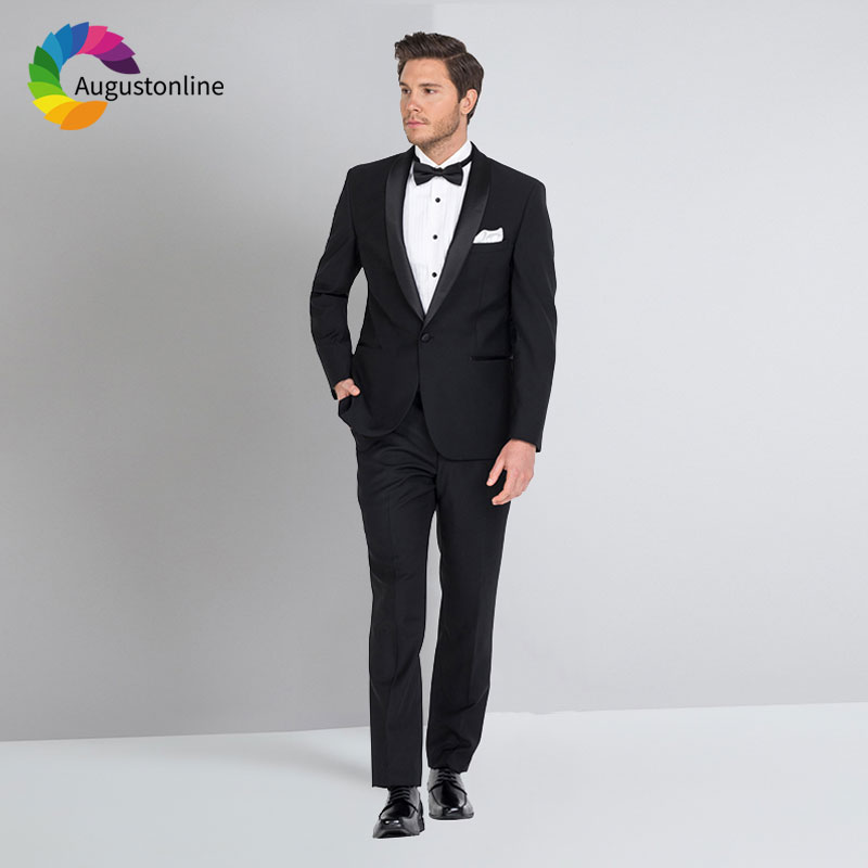 Мужской костюм жениха, черный приталенный костюм, смокинг для свадьбы, 2019, черный пиджак с отложным воротником, на заказ, мужской пиджак, брю...