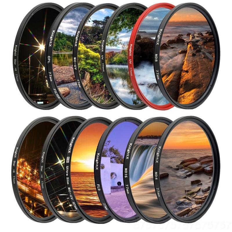 Filtro uv da lente da câmera da estrela do nd de knightx fld para canon sony nikon 52mm 55mm 58mm 67mm 77mm 700d 500d 1200d d3300 acessórios