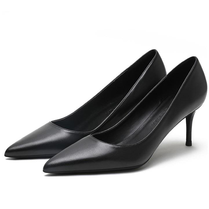 2019 Hot Sale Women Pumps Sheepskin Leather High Heels Shoes Slip On Spring Summer Elegant Dress Shoes Woman E0050