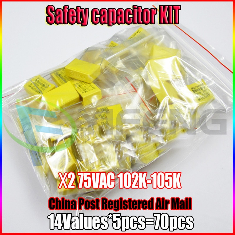 X2 Safety Capacitor 275VAC 102K-105K 1NF~1UF Assorted Kit 14valuesx5pcs=70pcs
