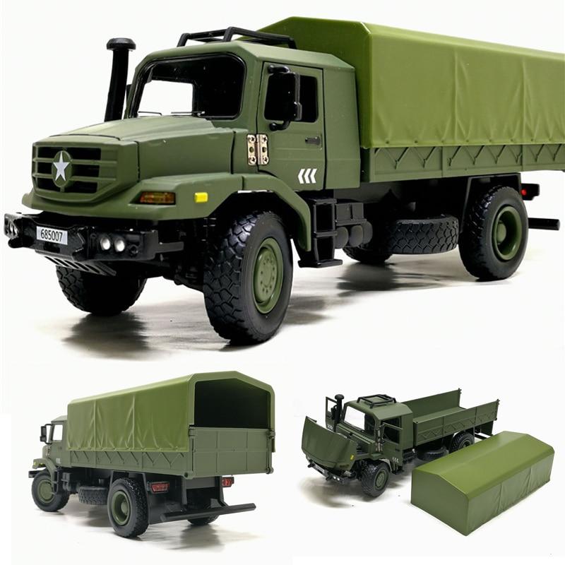 Modelo de camión de transporte militar de aleación 136 de alta calidad, modelo de coche de juguete todoterreno de niño de simulación, adornos de colección, envío gratis