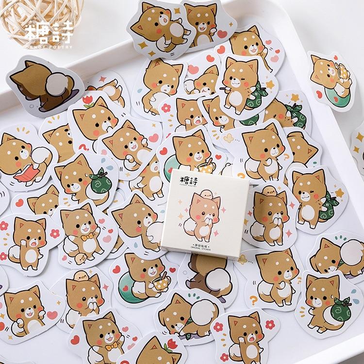 paquete-de-pegatinas-con-45-uds-adorable-perrito-memo-lindo-planificador-kawaii-pegatinas-de-diario-de-recortes-material-de-papeleria-escolar-suministros-escolares