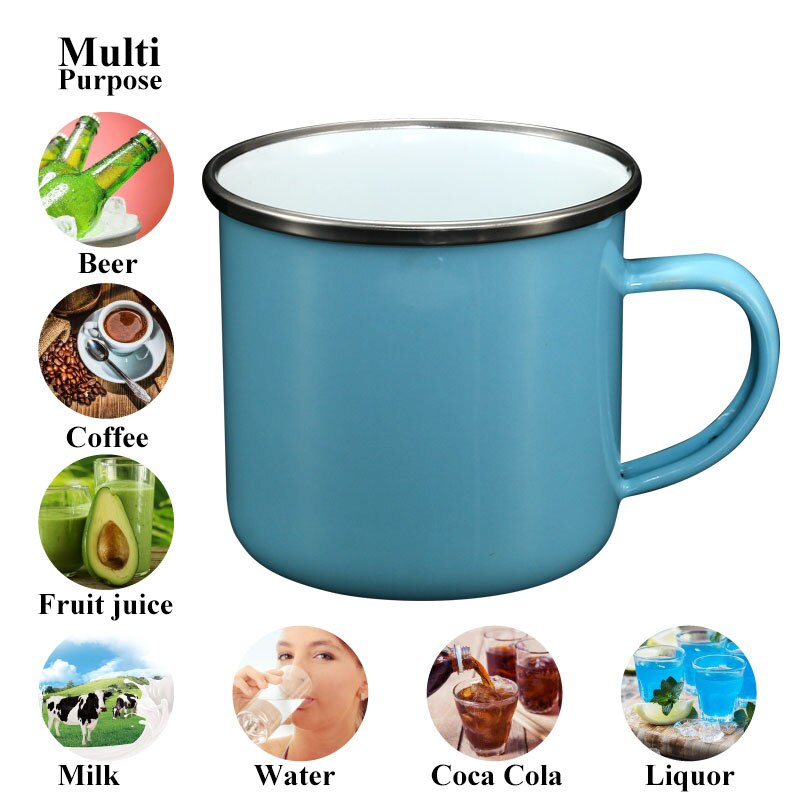 Taza de esmalte de Color de macarrón de alta calidad, taza de café Simple china, Taza de leche