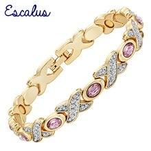 Escalus Bracelet Wristband Women 2-Tone Silver Gold Color Stones Magnetic Bangle Ladies Wristband Charm Remove pain Jewelry