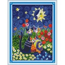 Joy sunday cartoon style Cats under the sun diy needle print fabric to beginner cross stitch kits for kids