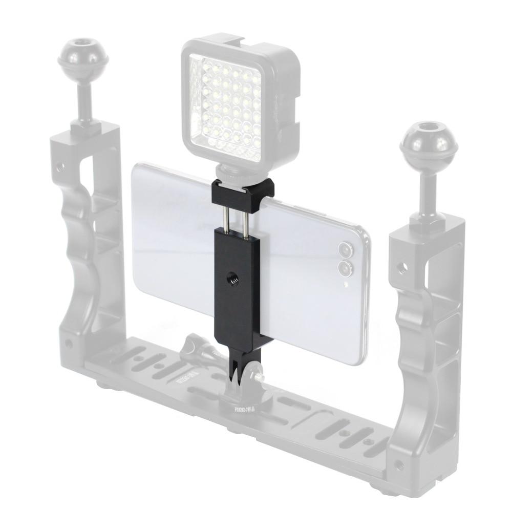 Soporte de teléfono móvil Clip adaptador de montaje para trípode con orificio de 1/4 y soporte de zapata fría para teléfono Gopro cámara de deporte de acción partes