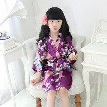 Детский сатиновый халат, детское кимоно, халат подружки невесты, платье с цветами для девочек, детский Шелковый банный халат, ночная рубашка, платье с павлином