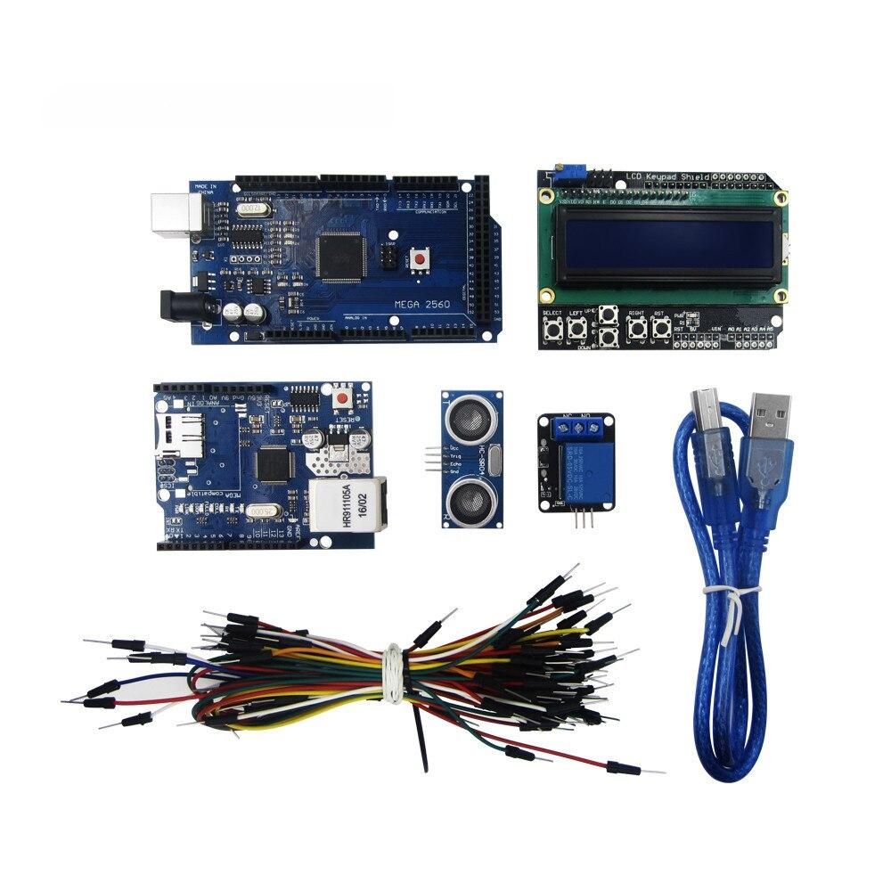 HAILANGNIAO Mega 2560 r3 kit + HC-SR04 + cable + módulo de relé + W5100 shield uno + LCD 1602 teclado escudo