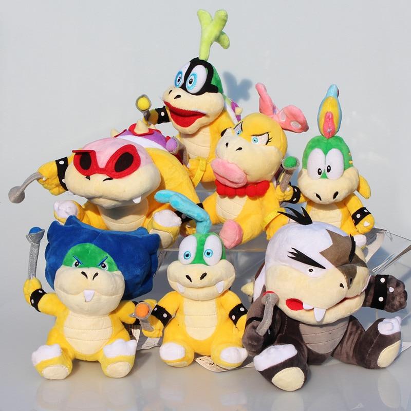7 unids/set Super Mario Koopalings juguetes de peluche Wendy LARRY IGGY Ludwig Roy Morton Lemmy bowser O peluche de Koopa de peluche suave para los niños