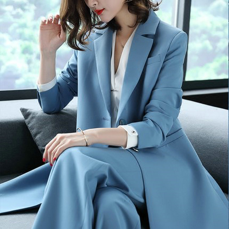 Women's 2 Pieces Sets Office Lady Blazers Suits Spring New Trench Coat and Wide Leg Pants Suits