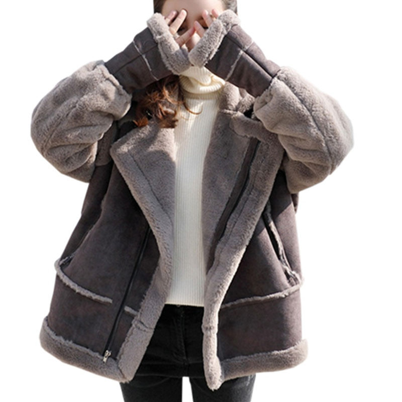 Chaqueta de invierno de cuero de gamuza gruesa de lana de cordero chaquetas 2018 abrigo de cuero de imitación de solapa superior de moda de cachemir abrigos de calidad delgada YP1638