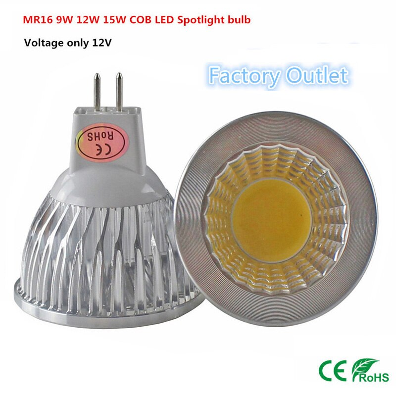 10pcs Super deal MR16 COB 9W 12W 15W LED Light Bulb MR16 12V, Warm White / Pure / Cold White led LIGHTING