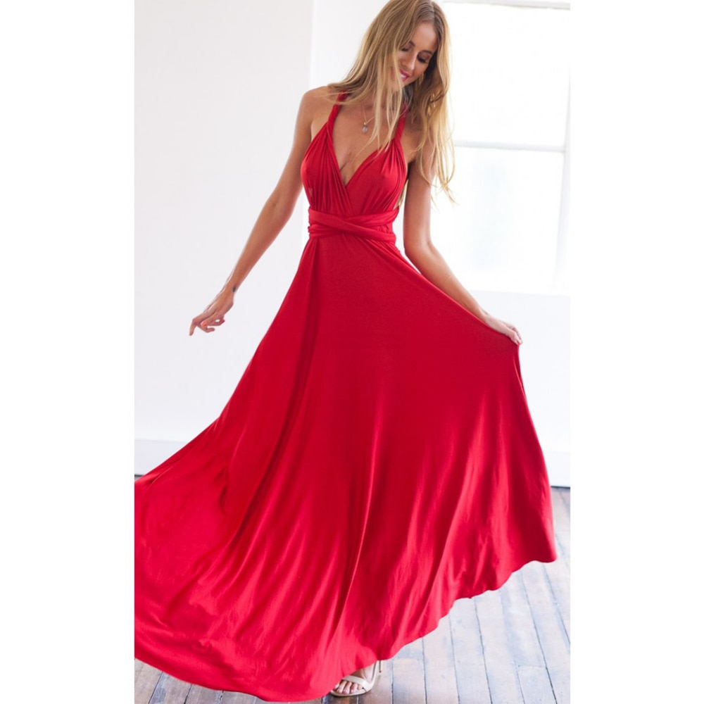 Sexy Women Multiway Wrap Convertible Boho Maxi Club Red Dress Bandage Long Dress Party Bridesmaids I