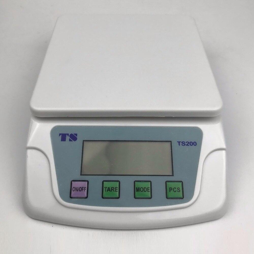 TS-200 equilibrio electrónico de análisis, equilibrio digital, equilibrio de cocina, rango de 3000g, resolución de 0,1g, equilibrio de bolsillo, escala