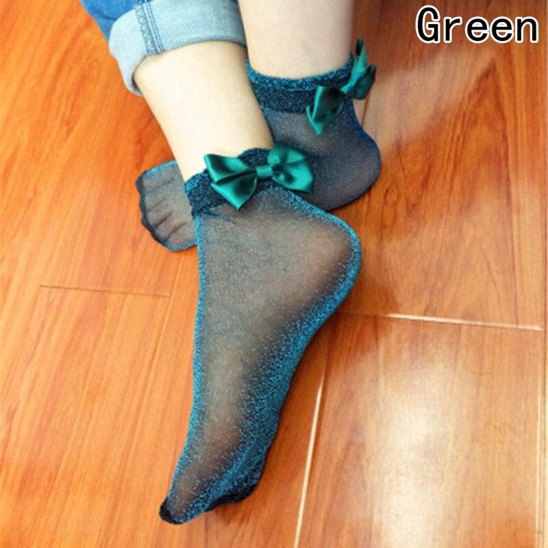 Красивые носки с бантом в стиле Харадзюку, блестящие сетчатые шелковые ленты с бабочкой, соблазнительные блестящие эластичные носки с бантом из стекла