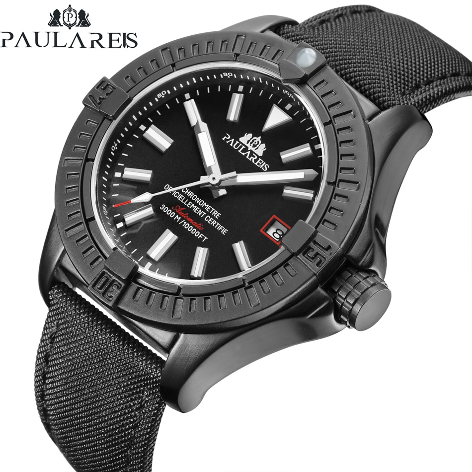 Men Automatic Self Wind Mechanical Black Bird Canvas Style Genuine Black Blue Leather Date Luminous Luxury Watch