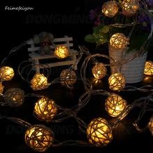 10 LED s 1 m 5 cm corde lumières décoration de noël ornements fête de mariage tissé à la main en rotin boule lanterne chaîne LED éclairage