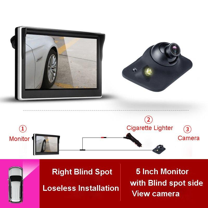 5 inch TFT LCD רכב עיוור ימין, קדמי, אחורי מצלמה צג עמיד למים LED ראיית לילה היפוך גיבוי 2 ב 1 חניה עוזר