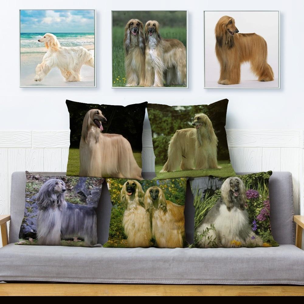 Elegant Afghan Hound Dog Cushion Covers Pillow Case Car Sofa Home Decor Pet Pillows Cases Linen 45*45cm Square Pillow Cover