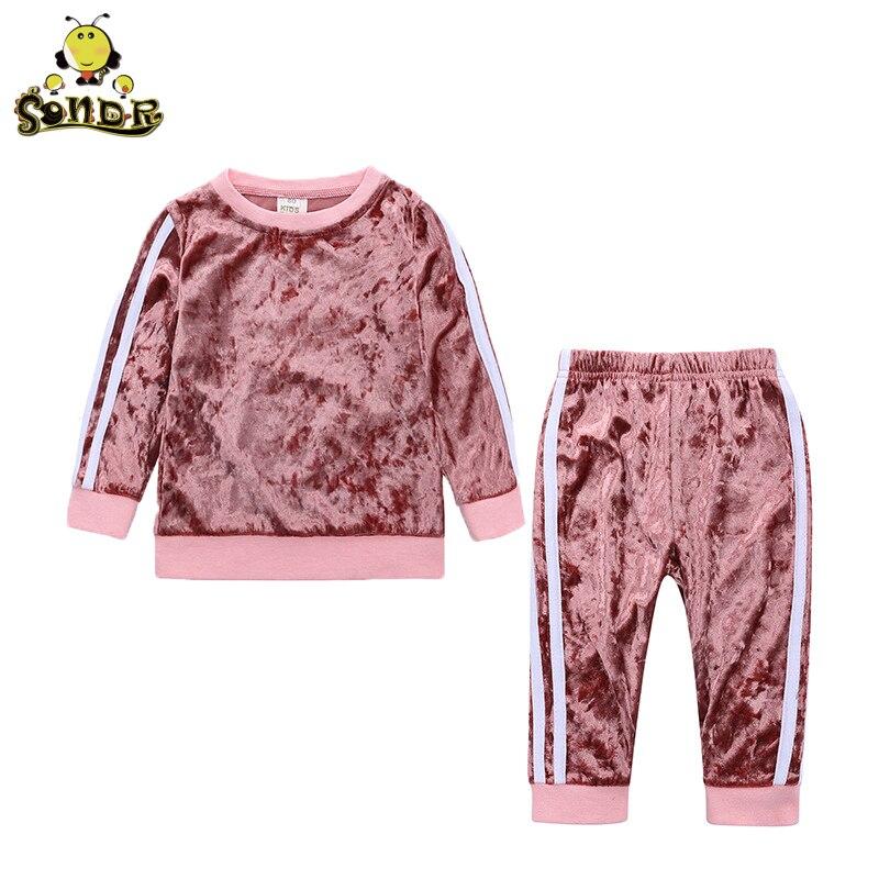 Sonder 2018New Infant Baby Girls conjuntos de ropa de moda 2 piezas de terciopelo de manga larga sólido Pullover sudadera Top pantalones conjunto 9Mto4Y