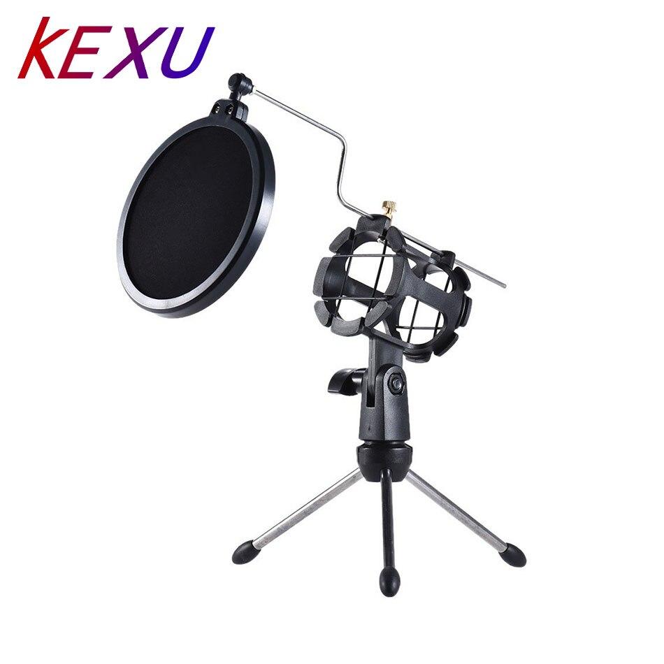 KEXU Mini escritorio micrófono soporte Mesa plástico Mic Clip trípode soporte con filtro Pop doble malla pantalla Micro trípode negro