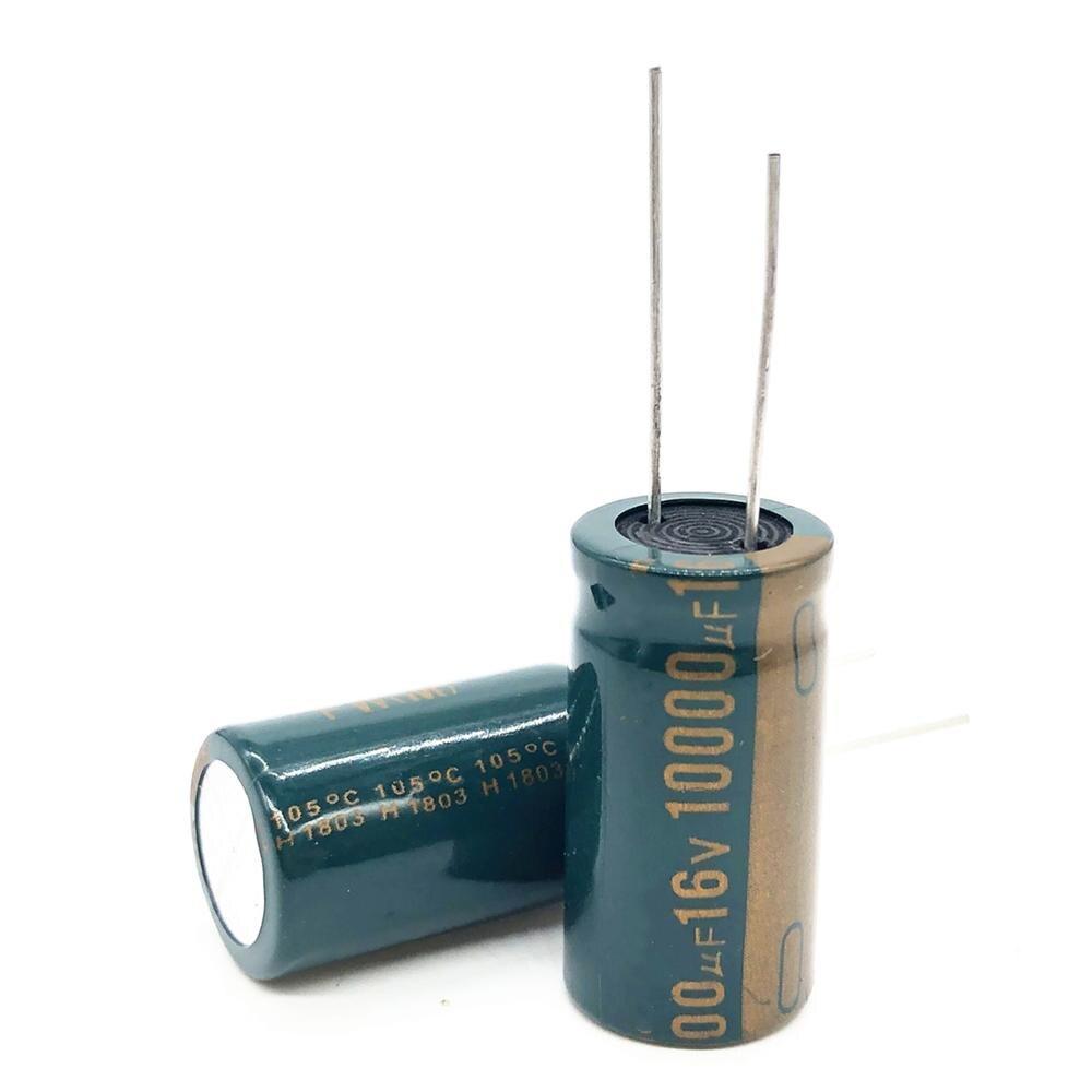 Высокочастотный электролитический конденсатор с низким сопротивлением, 4 шт./лот, 16 В, 10000 УФ, 16х30, алюминиевый электролитический конденсатор, 10000 мкФ, 16В, 20%