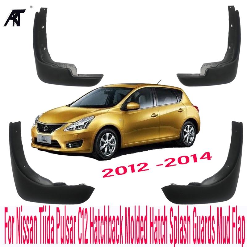 Guardabarros de coche para Nissan Tiida Pulsar C12 Hatchback moldeado 2012-2014 protectores de salpicaduras guardabarros