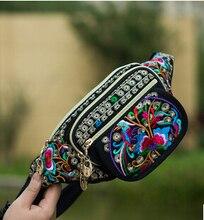 Sacs de taille de Wonen de broderie nationale de mode! Beaux sacs de taille de bras brodés floraux ethniques de dame transporteur bohème de toile de dame