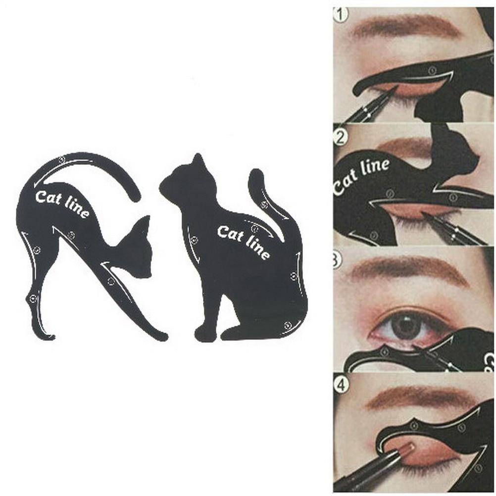 2pcs/set Women Cat Line Eyeliner Stencils Pro Eye Makeup Tool Eye Template Shaper Model Easy to make up DIY Decoration