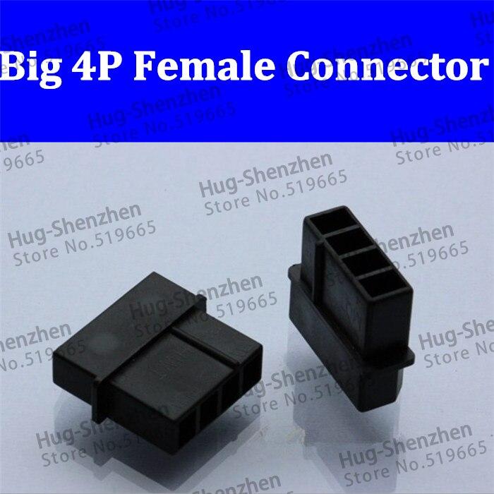Molex Negro Grande 4P 4D 4pin hembra para PC ordenador ATX IDE conector de alimentación carcasa de plástico para Pines de terminal macho