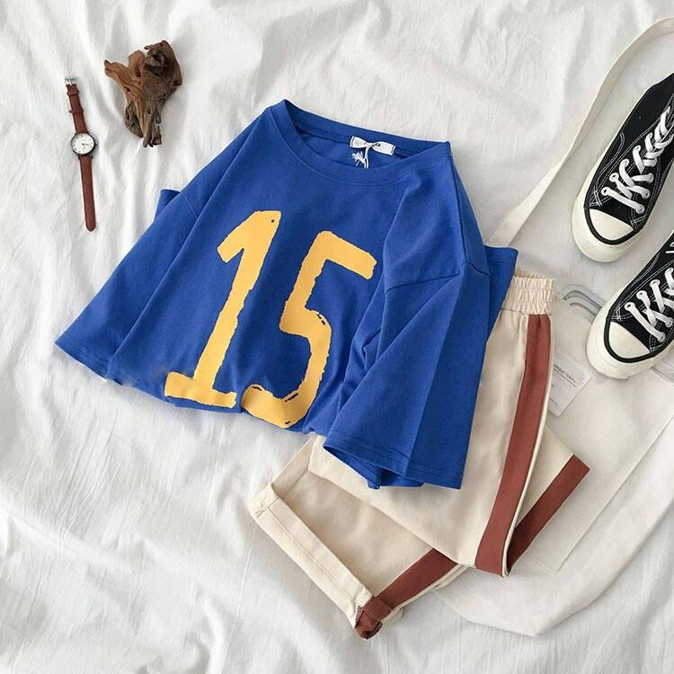 2019 Set female students summer new Korean print short-sleeved t-shirt + casual long pants