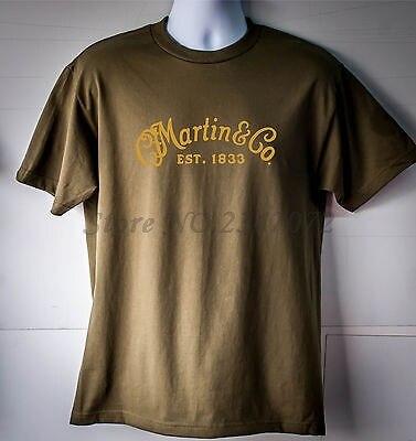 T-Shirt à Logo guitare Martin & Company vert Olive pour hommes, t-shirts en coton dété taille européenne