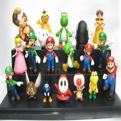 18 unids/set Super Mario figuras de acción de PVC juguetes modelo