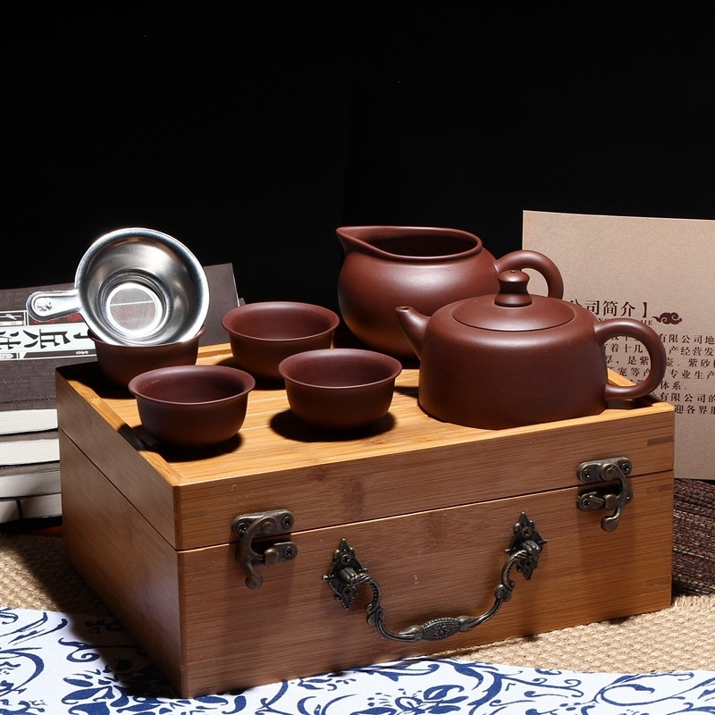 صندوق من الخيزران الصيني المحمول ، للسفر مع مجموعة صينية شاي ، وعاء من الطين الأرجواني Yixing ، هدية