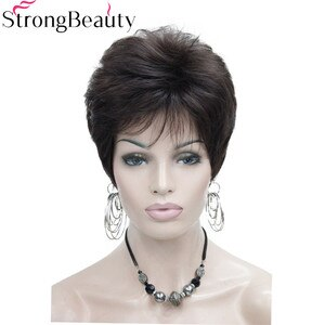 StrongBeauty Short Straight Synthetic Red Orange Brown Blonde Wigs High Heat Resistant Full Wig Many Color For Choose